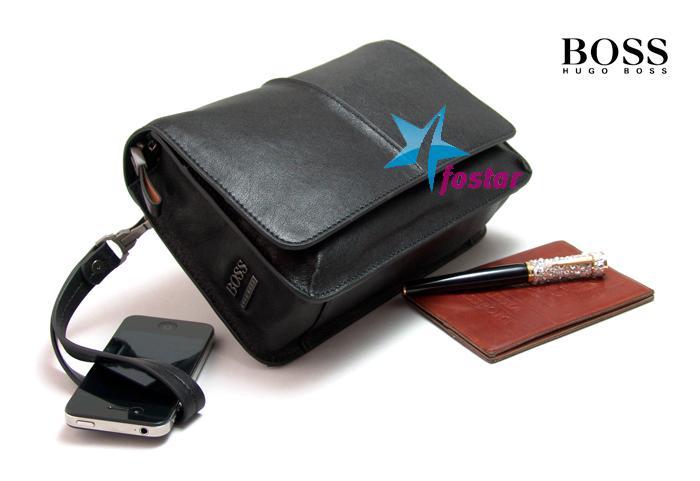 a1e6a1d965b7 Hugo Boss - Купить - Мужская кожаная черная барсетка Hugo Boss D6055 ...